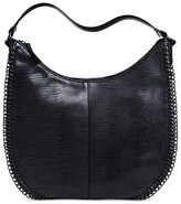 Mossimo Women's Faux Leather Hobo Handbag with Chain Detail and Zip Closure Black Black