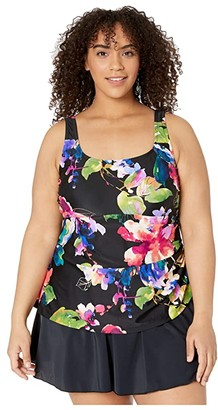 Maxine Of Hollywood Swimwear Plus Size Camellia Adjustable Tank Swimdress One-Piece (Multi) Women's Swimsuits One Piece