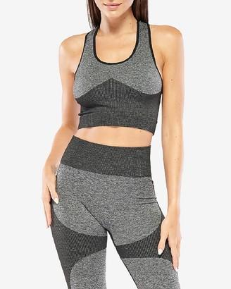 Express Electric Yoga Gray Colorblock Sports Bra