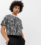 Crooked Tongues oversized t-shirt with repeat logo print