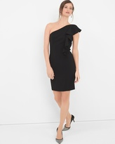 White House Black Market One-Shoulder Black Ruffle Sheath Dress