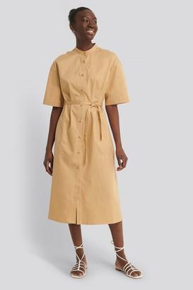 NA-KD Organic Contrast Toptstitch Shirt Dress