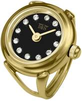 Swarovski Davis 4175-Women's Finger Ring watch-Yellow Gold Case- Dial Crystal stones-Sapphire Glass-Adjustable