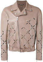 Versace Degradé slash biker jacket - men - Cotton/Lamb Skin - 52