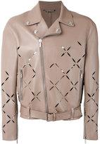 Versace Degradé slash biker jacket - men - Lamb Skin/Cotton - 52