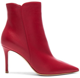 Gianvito Rossi Nappa Leather Levy Ankle Boots in Red.