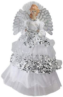 """Northlight 16"""" Lighted Fiber Optic Angel in Silver Sequined Gown Christmas Tree Topper"""