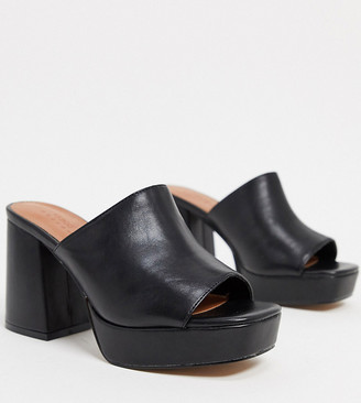 ASOS DESIGN Wide Fit Hypnotize chunky platform mules in black