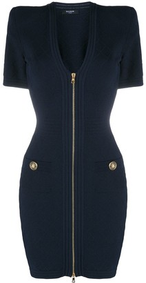 Balmain quilted V-neck dress