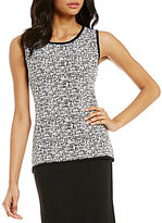 Preston & York Paula Round Neck Sleeveless Printed Knit Shell