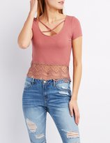 Charlotte Russe Ribbed Crochet-Trim Caged Tee