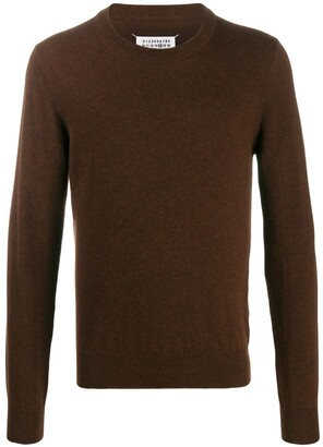 Maison Margiela elbow patches crew neck knitted sweater