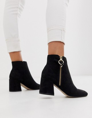 Office Anthea suedette mid heeled ankle boots with side zip detail