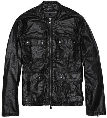 John Varvatos Band Collar Zip Up Jacket