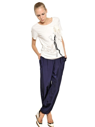 Lanvin Sequined Cotton Bamboo Jersey T-Shirt