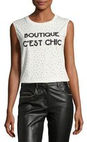 Moschino Sleeveless Embellished Boutique C'est Chic Tee