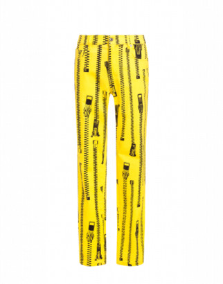 Moschino All Over Zip Gabardine Trousers Man Yellow Size 46 It - (30 Us)