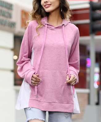 Z Avenue Women's Sweatshirts and Hoodies Pink - Pink Stripe-Inset Kangaroo-Pocket Hoodie - Women & Plus