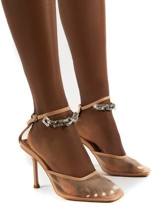 Public Desire Uk Macie Mesh Anklet Detail Stiletto Heels