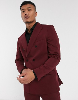 Lockstock Mayfair double breasted suit jacket in burgundy-Red