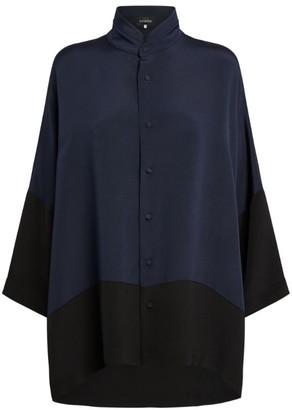 eskandar Silk Contrast-Trim Shirt