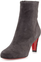 Christian Louboutin Top 70 Suede Red Sole Ankle Boot, Charcoal Gray