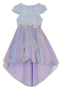 Rare Editions Little Girls Sequin and Mesh Hi-Low Dress
