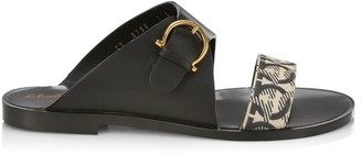 Salvatore Ferragamo Cassie Flat Cotton & Leather Sandals