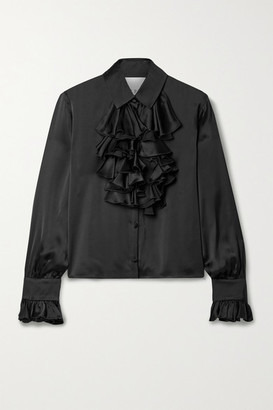 Halpern Ruffled Satin Blouse - Black