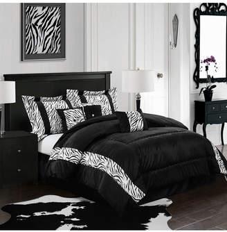 Mali 7-Piece Comforter Set, Black, King Bedding