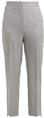 Burberry High Rise Straight Leg Wool Trousers - Womens - Grey