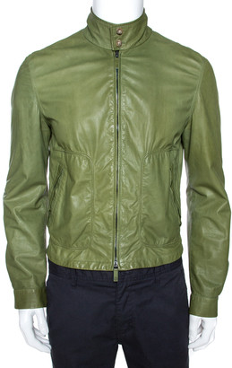 Giorgio Armani Green Lambskin Leather Jacket M