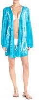 Green Dragon Women's Lace Inset Circle Tie Dye Kimono Cover-Up