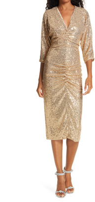 IORANE Ruched Front V-Neck Sequin Midi Dress