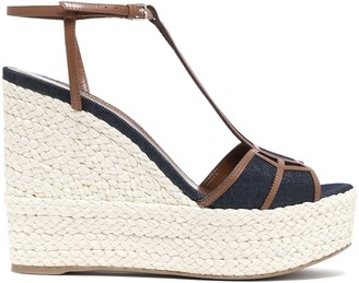 Sergio Rossi Leather-trimmed Denim Platform Wedge Sandals