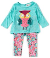 Rare Editions Baby Girls 3-24 Months Owl-Applique Top & Printed Leggings Set