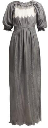 Thierry Colson Daria Ruffle-trimmed Cotton-blend Maxi Dress - Womens - Grey White