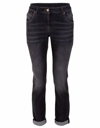 Brunello Cucinelli Dark Grey Monili Detail Straight Leg Denim Pant