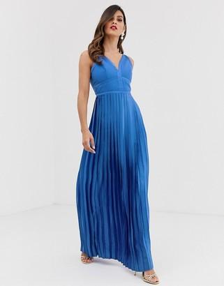 Little Mistress panelled bodice pleated skirt satin maxi dress-Blue