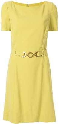 Celine Pre Owned belted logo plaque dress