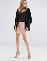 Boohoo Rose Gold Metallic Mini Skirt