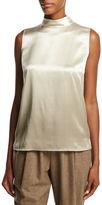 Lafayette 148 New York Fernanda Sleeveless Mock-Neck Ombre Silk Blouse, Ecru Multi