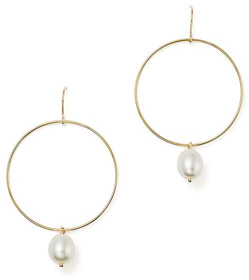 Bloomingdale's Hoop Drop Earrings with Cultured Freshwater Pearls in 14K Yellow Gold, 8mm