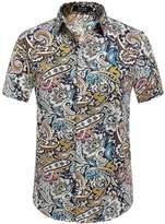 SSLR Men's Flower Buttondown Short Sleeve Shirt