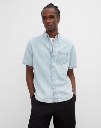 Club Monaco Short Sleeve Denim Shirt