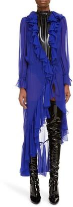 Saint Laurent Ruffle Trim Sheer Silk Duster