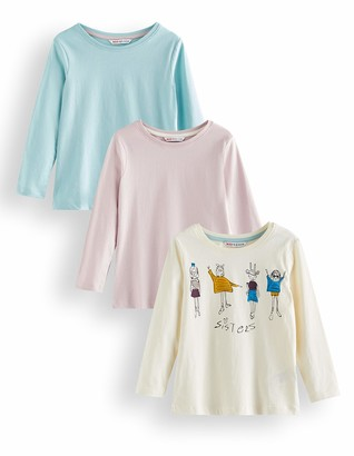 Amazon Brand - RED WAGON Girl's Long Sleeve Top Pack of 3