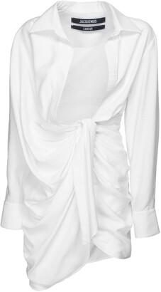 Jacquemus Draped Viscose Blend Mini Dress W/ Knot