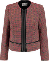 Sandro Violaine leather-trimmed metallic tweed jacket