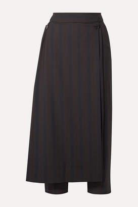 Palmer Harding palmer//harding - Linked Convertible Striped Woven Straight-leg Pants - Midnight blue